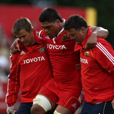 Munster's Nick Williams is helped off at Musgrave Park