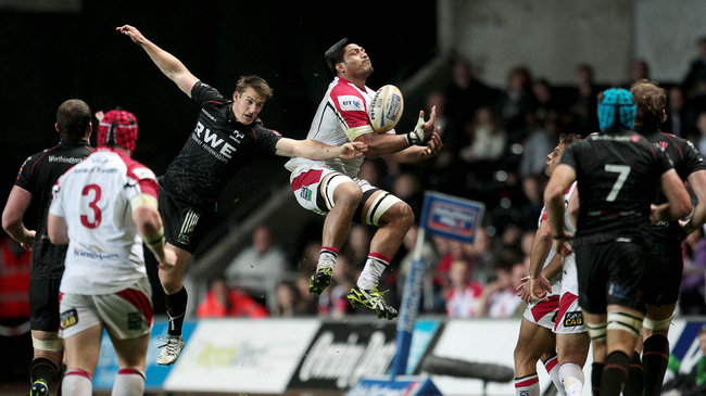 Ulster's Nick Williams goes for a high ball