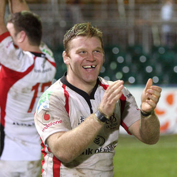 Hooker Nigel Brady celebrates after Ulster's win in Bath