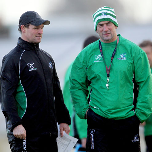 Connacht Eagles head coach Nigel Carolan with Eric Elwood