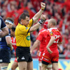 Referee Nigel Owens awarded a penalty try to Munster after the home pack sent Leinster back towards their try-line in two successive scrums