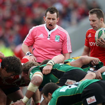 Nigel Owens refereeing the Munster v Northampton Saints quarter-final