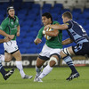 Bustling centre Niva Ta'auso takes the ball on for Connacht, under pressure from Cardiff's Deiniol Jones