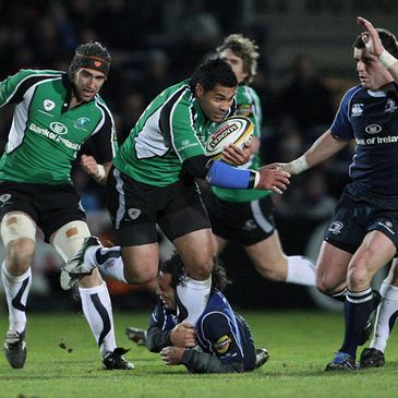 Connacht centre Niva Ta'auso challenges the Leinster defence