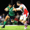 Niva Ta'auso dashes forward for Connacht during the first interprovincial derby of the new season