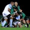 As the sides scrap for possession, Connacht centre Niva Ta'auso is brought to ground by Bayonne's Thibault Lacroix