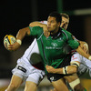 Connacht centre Niva Ta'auso manages to release the ball, under pressure from Ulster's Darren Cave and Ian Whitten