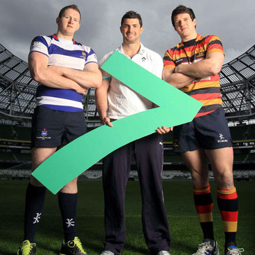 Rob Kearney with Blackrock's Michael Noone and Ross McCarron of Lansdowne