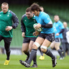Forwards Tom Court, Mike Ross and Donncha O'Callaghan are pictured during the pitch session for the Ireland squad this morning