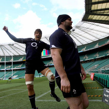Donncha O'Callaghan has a laugh at John Hayes' expense at Twickenham