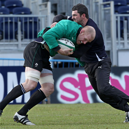 Rob Kearney tackles Paul O'Connell