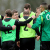Brian O'Driscoll and his successor as captain, Jamie Heaslip, get their point across during a huddle at the Maynooth training facility