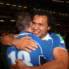 Isa Nacewa embraces Brian O'Driscoll in the aftermath of Leinster's unforgettable comeback victory over a gallant Northampton side