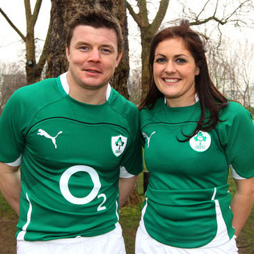 Irish captains Brian O'Driscoll and Fiona Coghlan