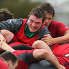 The effort is etched all over Peter O'Mahony's face as the Cork youngster works hard at Ireland's Takapuna training base