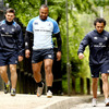 Eoin O'Malley, Leo Auva'a and Isa Nacewa make their way to training at the Thornfield pitches in UCD
