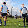 Brian O'Driscoll follows Eoin O'Malley as the Leinster players take part in a training exercise