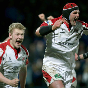 Stuart Olding and Johann Muller celebrate Ulster's recent derby win at the RDS