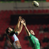 Harlequins' Ollie Kohn and Michael Swift, Connacht's most-capped player, compete for a lineout ball during the first half