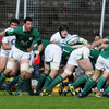 Number 8 Paddy Butler spins the ball away to scrum half John Cooney as Ireland attack off the base of a scrum