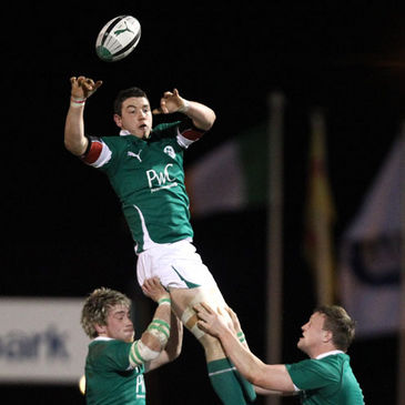 Number 8 Patrick Butler secures possession for Ireland