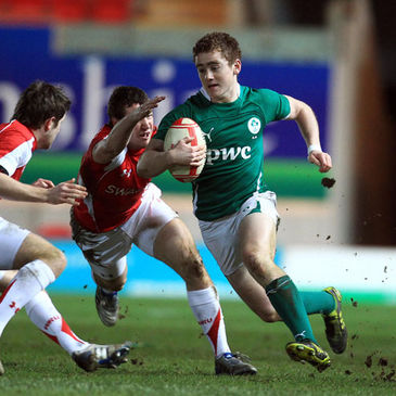 Paddy Jackson makes a break against Wales U-20s