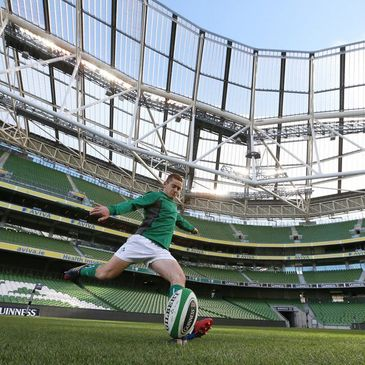 Paddy Jackson practises his kicking at the Aviva Stadium