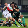 Ludovic Mercier and former Ulster lock Carlo del Fava, who captained Aironi on the night, get to grips with Paddy Wallace