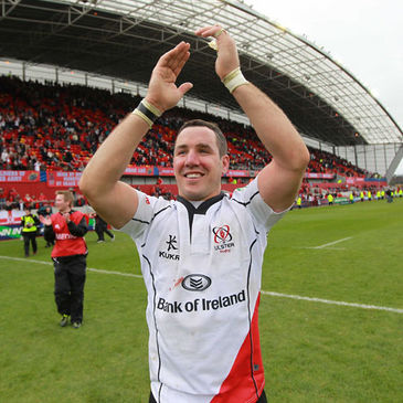 Paddy Wallace celebrates Ulster's quarter-final win in Limerick