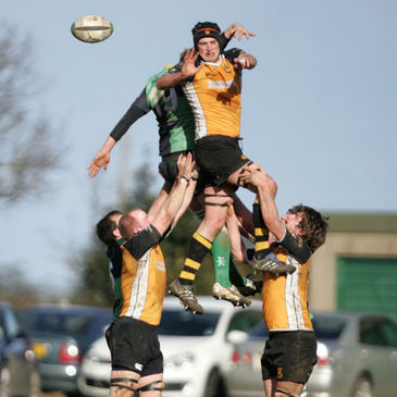 Lock Padraig Burke taps down a lineout ball