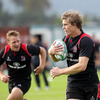 Paul Emerick, Ulster's new American signing, tracks his wing colleague Andrew Trimble