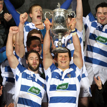Dungannon's Paul Magee lifts the Ulster Senior Cup