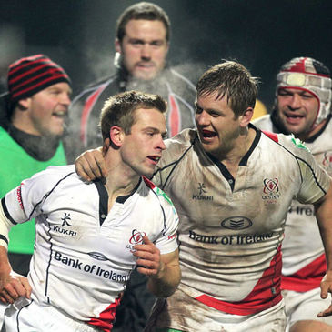 Try scorer Paul Marshall is congratulated by Chris Henry