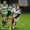The Benetton Treviso defence closes in as scrum half Paul Marshall tries to set up an Ulster attack