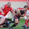 Ulster scrum half Paul Marshall, an Ireland Sevens international, is chased by Scarlets prop Phil John