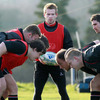 Paul Marshall waits to feed the ball into a scrum as Ulster's front rowers get set to engage