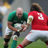 Ireland's pack leader Paul O'Connell looks a fiercesome sight as he charges towards Wales prop Adam Jones