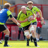 Prop Stephen Archer runs a support line as Paul O'Connell takes the ball into contact at Thomond Park