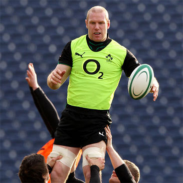 Paul O'Connell jumps for a lineout ball during Monday's session