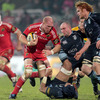 Cardiff flanker Ma'ama Molitika is brushed aside by Paul O'Connell as the fit-again lock takes the ball into contact