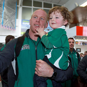 Paul O'Connell with young Ireland fan Conor Dooley