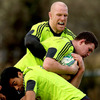 Paul O'Connell and Lifeimi Mafi double up on Donnacha Ryan, who made his return from suspension for Munster's British & Irish Cup side last Saturday