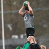 Paul O'Connell plucks a ball out of mid air, as Stephen Ferris and Leo Cullen provide support