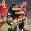 London Irish's Nick Kennedy and Ryan Lamb double up on Paul O'Connell, who was central to Munster's late rally