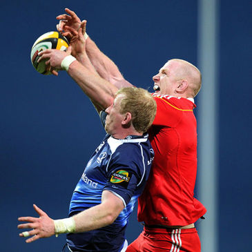 Paul O'Connell in action against Leinster's Leo Cullen