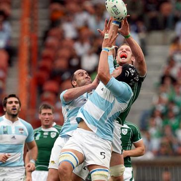 Paul O'Connell competes for a high ball against Argentina