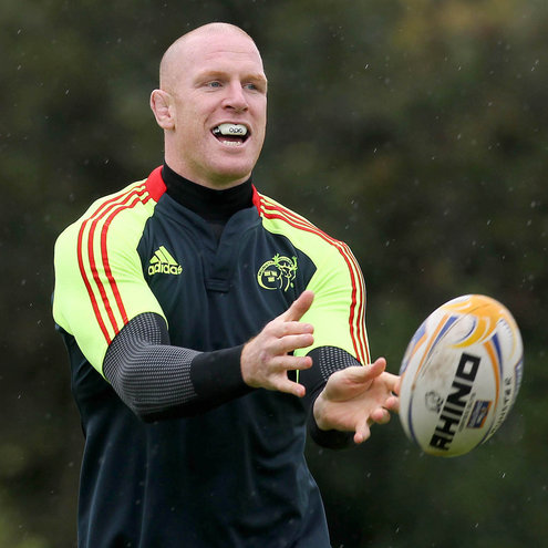 Photos of the Munster players training in wet conditions in Cork