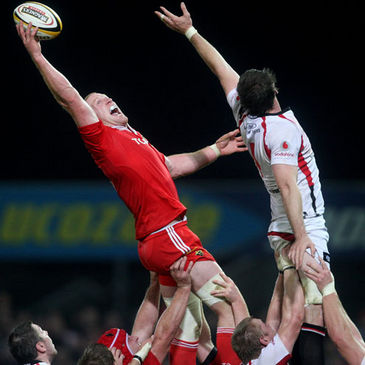 Munster captain Paul O'Connell stretches for a lineout ball