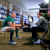 Ireland captain Paul O'Connell chats to RTÉ Radio presenter Damien O'Meara during one of his many interviews on the day