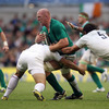 Paul O'Connell was an ever-willing ball carrier for Ireland. Here it takes Dimitri Szarzewski and Lionel Nallet to bring him down
